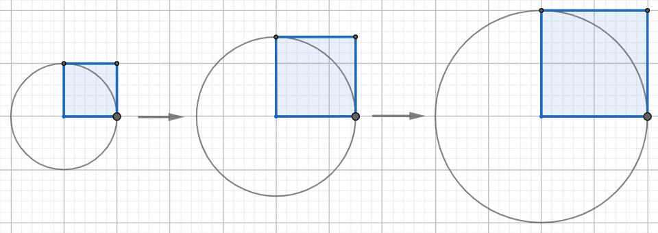 3円(半径、正方形)