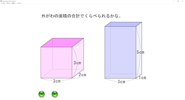 算数科5年「体積」導入2「表面積では比べられない」教材ソフトを使った授業