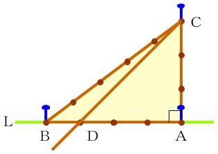3-4-5ロープ三角形で45°を作る